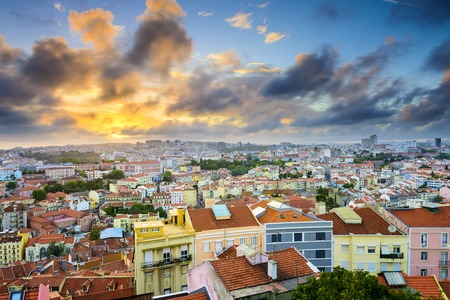 baixa: Lisbon, Portugal Baixa district skyline during sunset.