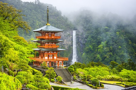 temple tower: Nachi, Japan at the pagoda of Seigantoji and Nachi no Taki waterfall.