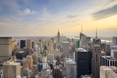 sunset city: New York City, USA city skyline of midtown Manhattan.