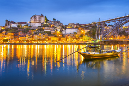 oporto: Porto, Portugal cityscape on the Douro River.