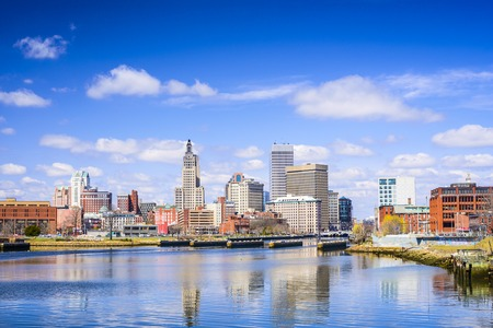 island: Providence, Rhode Island city skyline on the river.