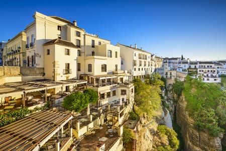 Ronda, Spanje Cliffside gebouwen op de Taag Gorge.