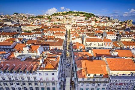 justa: Lisbon, Portugal city skyline over Santa Justa Rua.