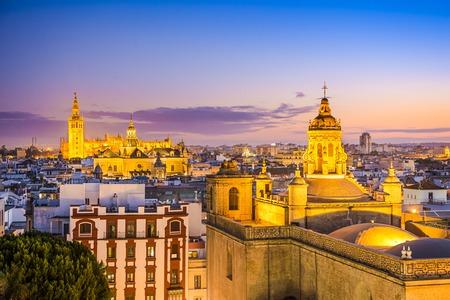spain: Seville, Spain city skyline at dusk.
