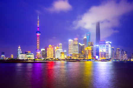china city: Shanghai, China city skyline of the Pudong Financial District. Stock Photo