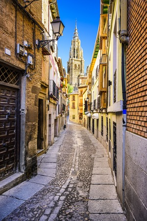 Toledo, Spain alleyway towards Toledo Cathedral.
