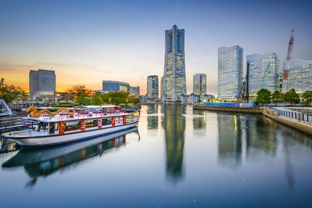 tokyo prefecture: Yokohama, Japan cityscape at Minato-Mirai waterfront. Editorial