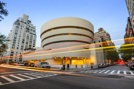 new york city skyline: New York City, USA - May 12, 2012: The Guggenheim Museum on 5th Ave was established in 1937, though the current museum building dates from 1959 and was designed by famed architect Frank Lloyd Wright.