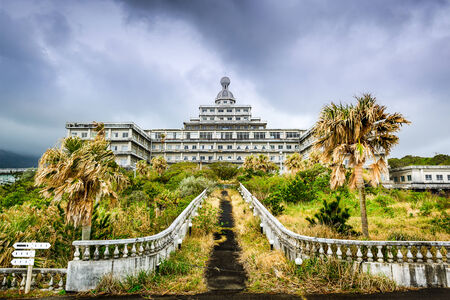 hotel building: Abandoned hotel building ruins on Hachijojima Island, Japan. Editorial