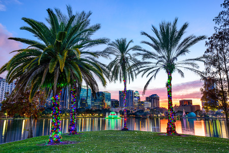 lake: Orlando, Florida, USA downtown skyline at Eola Lake. Stock Photo