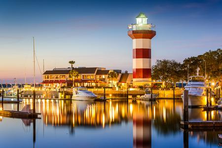 town house: Hilton Head, South Carolina, lighthouse at twilight.