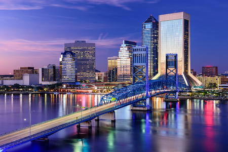 jacksonville: Jacksonville, Florida, USA city skyline on St. Johns River. Stock Photo