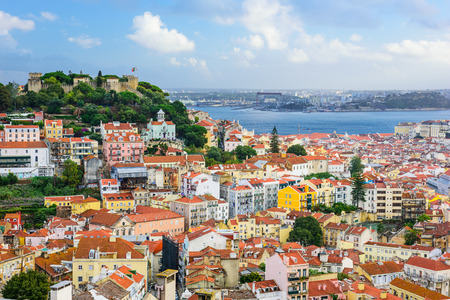 jorge: Lisbon, Portugal skyline at Sao Jorge Castle in the day. Editorial