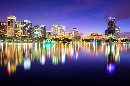 orlando: Orlando, Florida, USA downtown skyline at Eola Lake. Stock Photo
