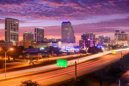 scenic highway: Orlando, Florida, USA downtown cityscape over the highway. Stock Photo