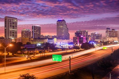 orlando: Orlando, Florida, USA downtown cityscape over the highway. Stock Photo