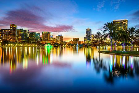 skyline: Orlando, Florida, USA downtown city skyline on Eola Lake.