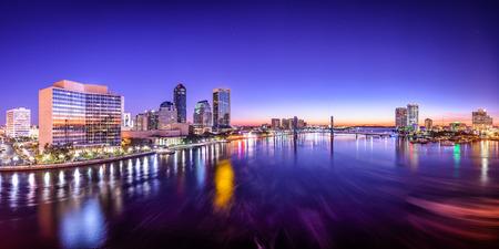 panoramic: Jacksonville, Florida, USA city skyline panorama on St. Johns River at dawn. Stock Photo