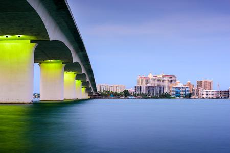Sarasota, Florida, USA skyline at Sarasota Bay.
