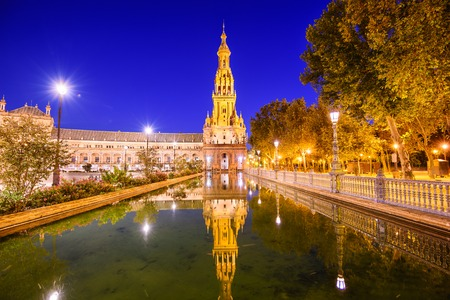 night scenery: Seville, Spain at Spanish Square (Plaza de Espana). Stock Photo