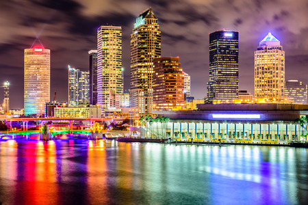 city and county building: Tampa, Florida, USA downtown city skyline on the Hillsborough River.