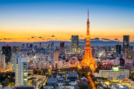 tokyo tower: Tokyo, Japan skyline at Tokyo Tower.