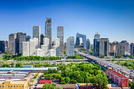 Beijing, China moderne financiële district skyline.