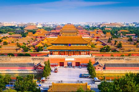 stad Beijing, China skyline in de Verboden Stad.