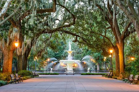 lights: Savannah, Georgia, USA at Forsyth Park Fountain.