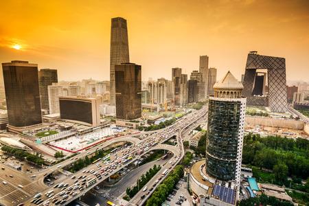 北京、中国の金融街の街のスカイライン。 写真素材
