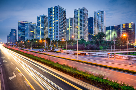 Beijing, China Central Business District cityscape over the highway Stok Fotoğraf