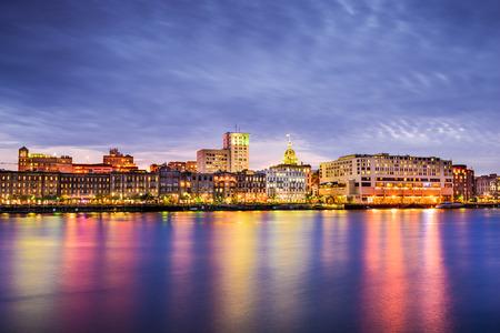 Savannah, Georgia, USA downtown skyline at the riverfront at dusk. photo