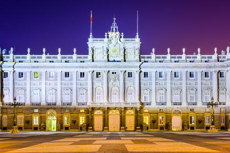 real madrid: Madrid, Spain at the Royal Palace at night. Editorial