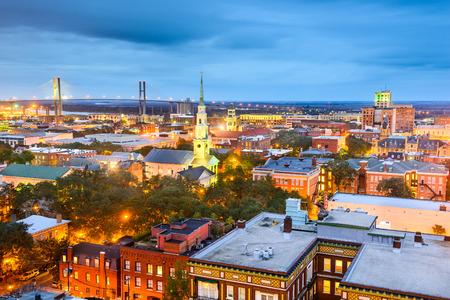 Savannah, Georgia, USA downtown skyline at night. photo
