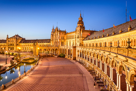 Seville, Spain at Spanish Square (Plaza de Espana). Редакционное