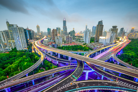 Shanghai, China aerial view and skyline over highways. photo
