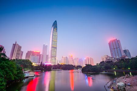 city park skyline: Shenzhen, China city skyline at Lychee Park. Stock Photo