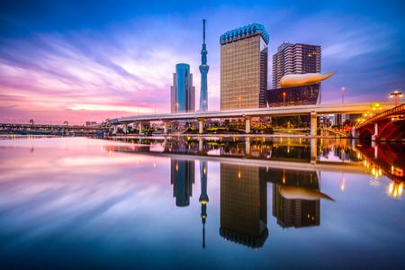 Tokyo, Japan skyline aan de rivier de Sumida bij dageraad.