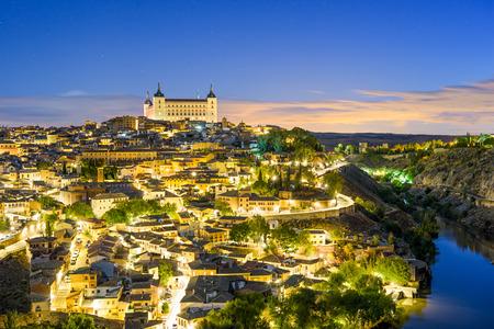 toledo town: Toledo, Spain old town skyline at dawn.