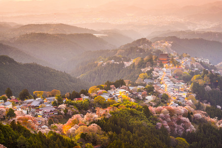 Yoshinoyama, Nara, Japan view of town and cherry trees during the spring season. 免版税图像 - 35806530