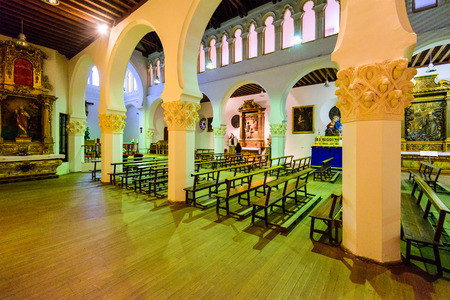 pews: SEGOVIA, SPAIN - OCTOBER 14, 2014: The Old Main Synagogue of Segovia. The synagogue was converted into a convent in the 14th century.