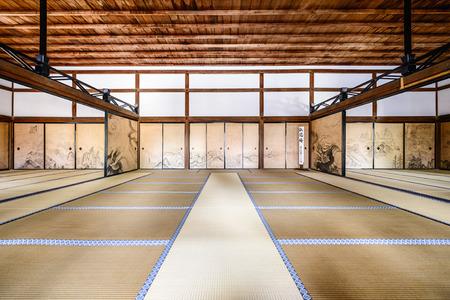 KYOTO, JAPAN - APRIL 9, 2014: The interior of the Kuri, the main building of Ryoanji Temple. 報道画像
