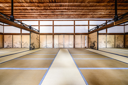 KYOTO, JAPAN - APRIL 9, 2014: The interior of the Kuri, the main building of Ryoanji Temple. 에디토리얼