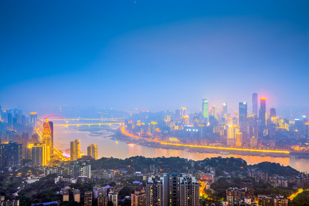 yangtze: Chongqing, China downtown city skyline over the Yangtze River. Stock Photo