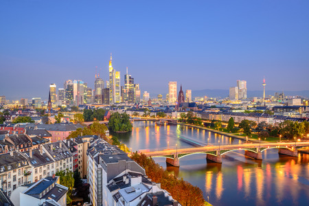 central europe: Frankfurt, Germany city skyline over the Main River.