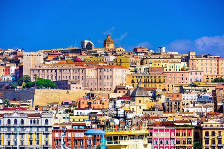 Cagliari, Sardinië, Italië oude stad skyline. Stockfoto