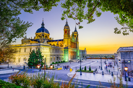 real madrid: Madrid, Spain at La Almudena Cathedral and the Royal Palace.