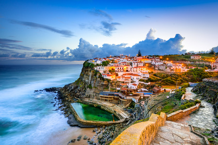 seaside town: Azenhas do Mar, Portugal coastal town.