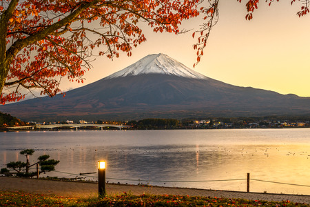 Mt. Fuji with autumn foliage at Lake Kawaguchi in Japan. Stock Photo