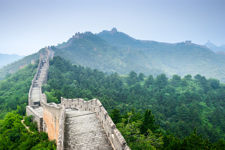 Great: Great Wall of China at Jinshanling sections. Stock Photo